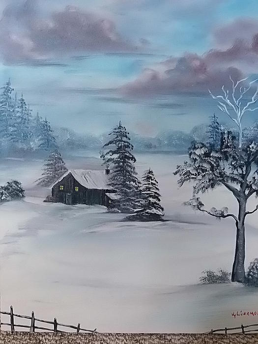 Cabin Painting - Winter Blues by Kathy Livermore