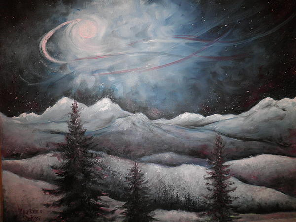 Night Sky With Moon Painting - Winter Dream by Marianne Stokes