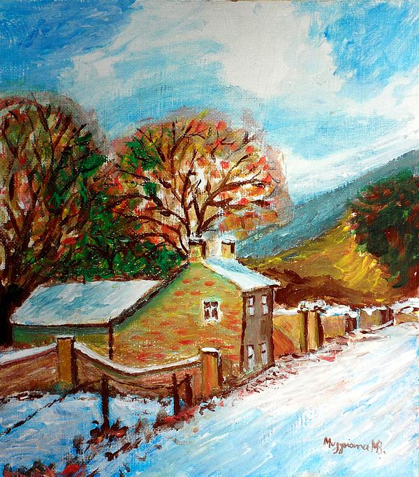 Mountain Home Painting - Winter Landscape by Mauro Beniamino Muggianu