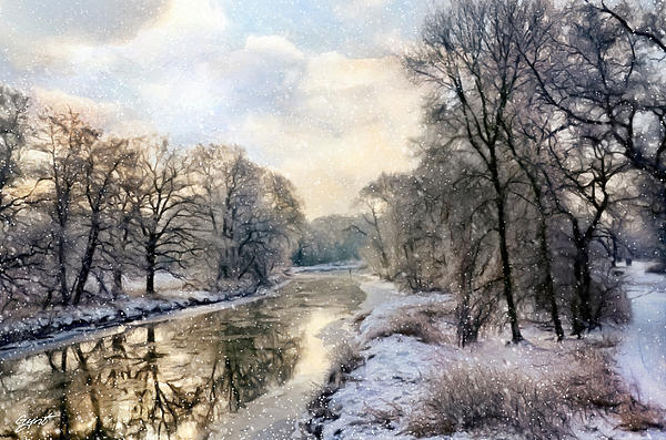 Winter Painting - Winter Landscape With River by Gynt