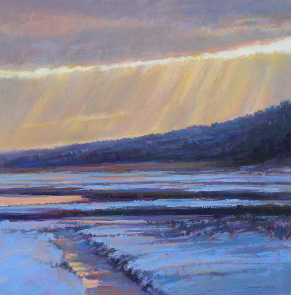 Winter Painting - Winters Dawn by Ed Chesnovitch