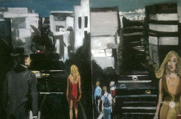 Urbanscape Painting - Woman In Yellow On San Francsco Street by Harry WEISBURD