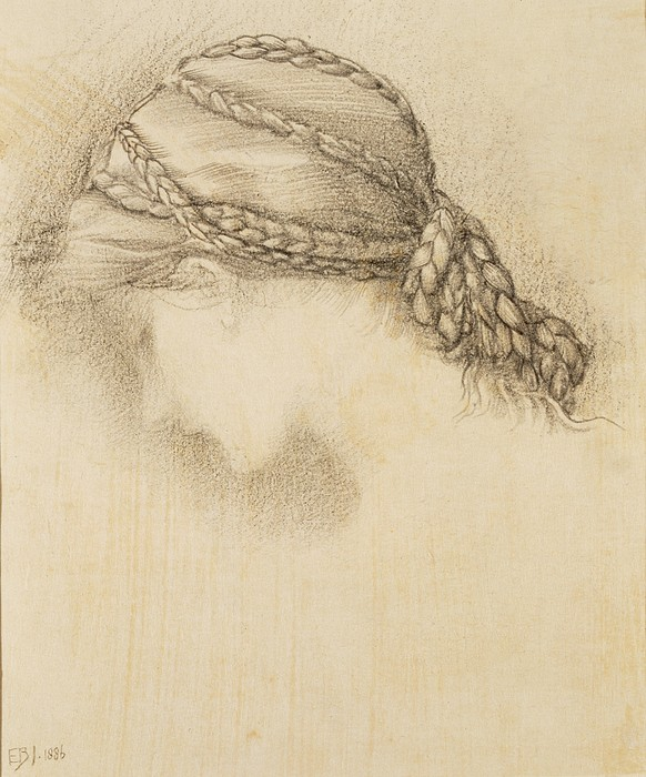 Female Drawing - Womans Head, Detail From A Sketchbook by Sir Edward Coley Burne-Jones