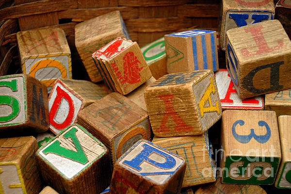 Blocks Photograph - Wooden Blocks With Alphabet Letters by Amy Cicconi