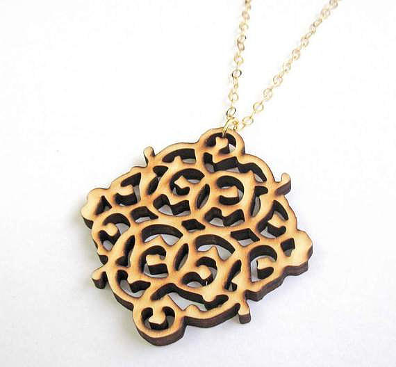 Jewelry Jewelry - Wooden Lace Pendant Necklace by Rony Bank