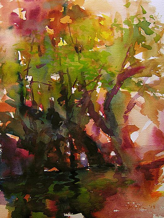 Watercolor Painting - Woods And Creek Watercolor by Julianne Felton