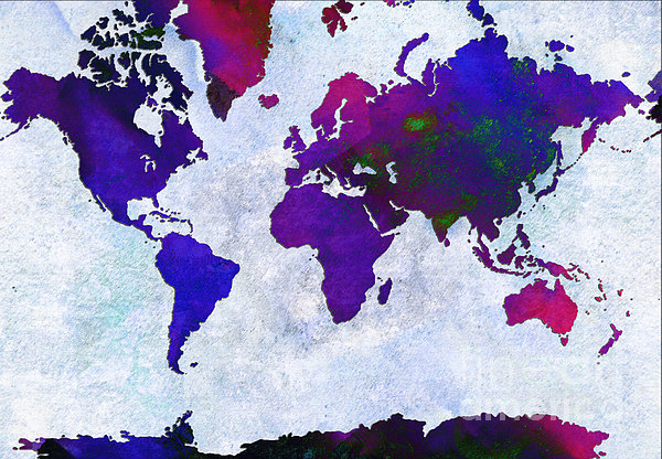 Abstract Digital Art - World Map - Purple Flip The Light Of Day - Abstract - Digital Painting 2 by Andee Design