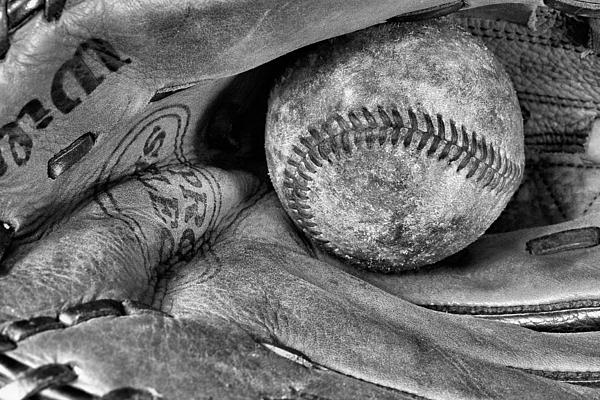 Baseball Photograph - Worn In Bw by JC Findley