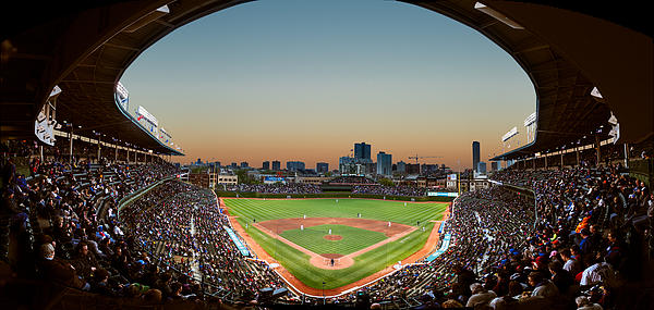 Cubs Photograph - Wrigley Field Night Game Chicago by Steve Gadomski
