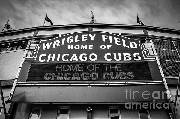 America Photograph - Wrigley Field Sign In Black And White by Paul Velgos