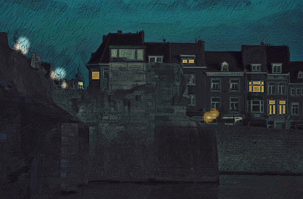 Wyck Painting - Wyck By Night by Nop Briex