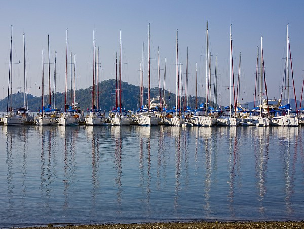 Boat Photograph - Yachts Docked In The Harbor Gocek by Christine Giles