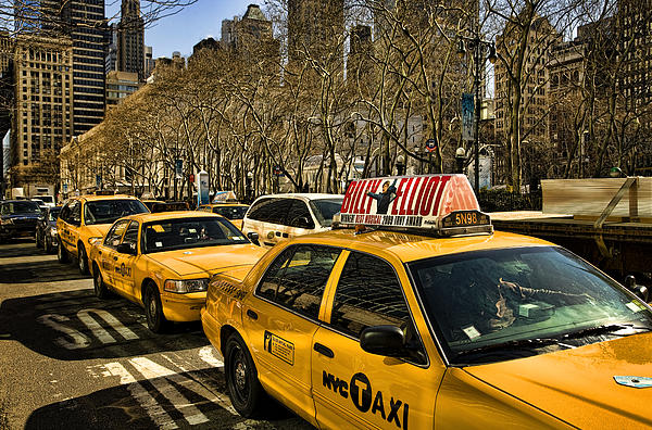 Yellow Cabs Photograph - Yellow Cabs by Joanna Madloch