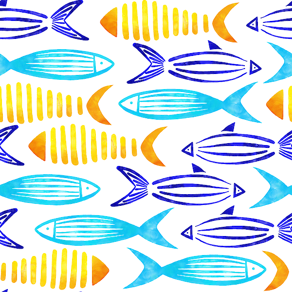 Yellow, Turquoise, Blue And Green Watercolor Fishes Seamless Pattern With White Background. Drawing by Gokcemim