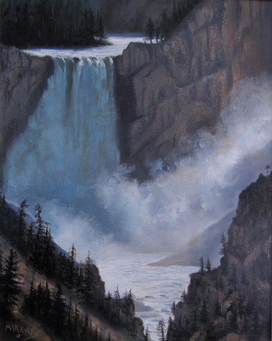 Mountains Painting - Yellowstone Falls Evening by Mar Evers