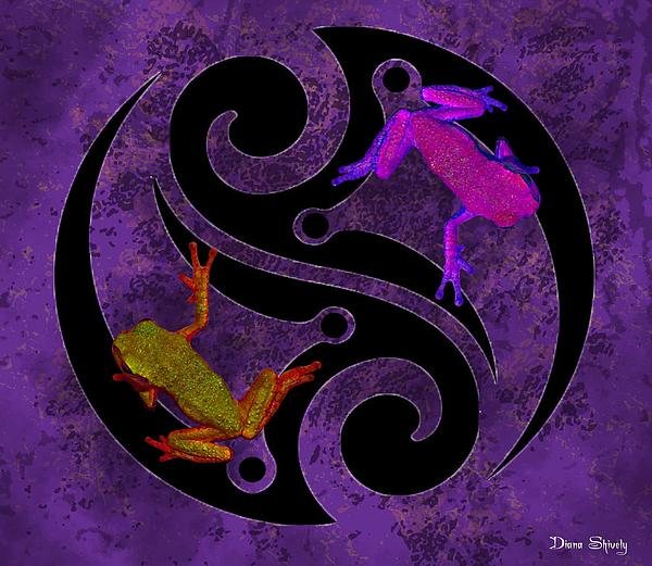 Tree Frogs Digital Art - Yin And Yang Tree Frogs by Diana Shively