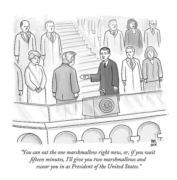 You Can Eat The One Marshmallow Right Now Drawing by Paul Noth