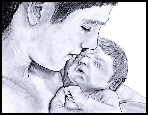 Young Painting - Young Father by Saki Art