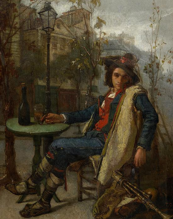 Couture Painting - Young Italian Street Musician by Thomas Couture