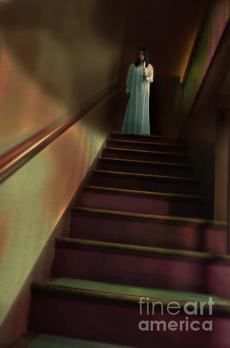 Woman Photograph - Young Woman In Nightgown On Stairs by Jill Battaglia