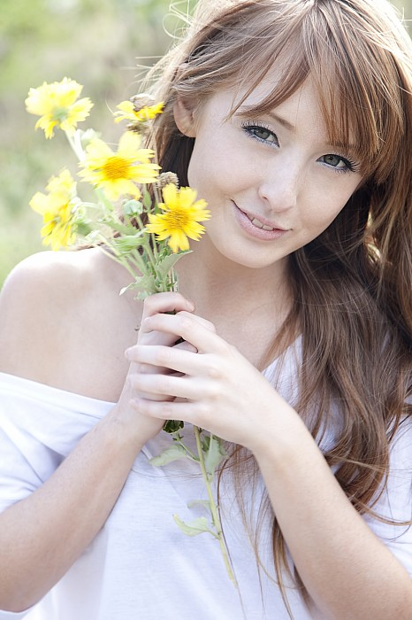 Beautiful Photograph - Young Woman With Flowers by Brandon Tabiolo