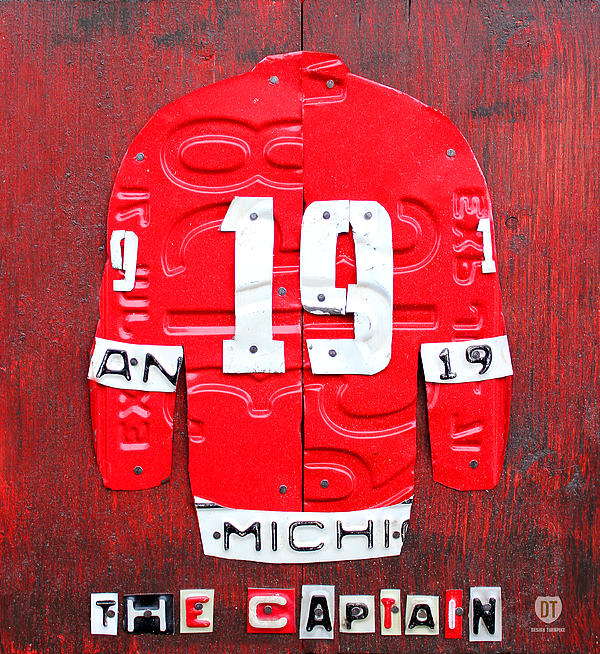 Yzerman The Captain Jersey License Plate Art Red Wings Hockey Nhl Mixed Media - Yzerman The Captain Red Wings Hockey Jersey License Plate Art by Design Turnpike