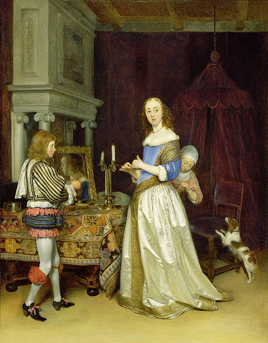 Lady Painting -  A Lady At Her Toilet by Gerard ter Borch