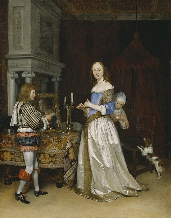 Lady Painting -  Lady At Her Toilette by Gerard ter Borch
