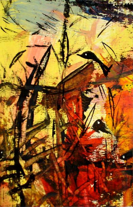Modern Abstract Painting Nature Bushes Birds Landscape Painting -  The Home Of Birds. by Paul Pulszartti