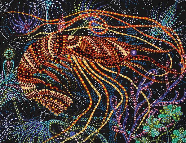 Ocean Painting - A Shrimp by Erika Pochybova