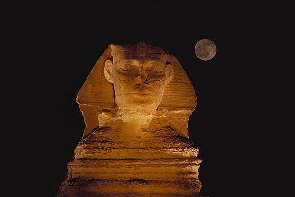 Africa Photograph - A View Of The Great Sphinx At Night by Bill Ellzey