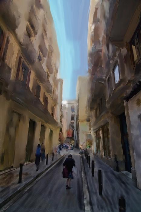 Barcelona Digital Art - Barcelona Street Scene by Sven Brogren