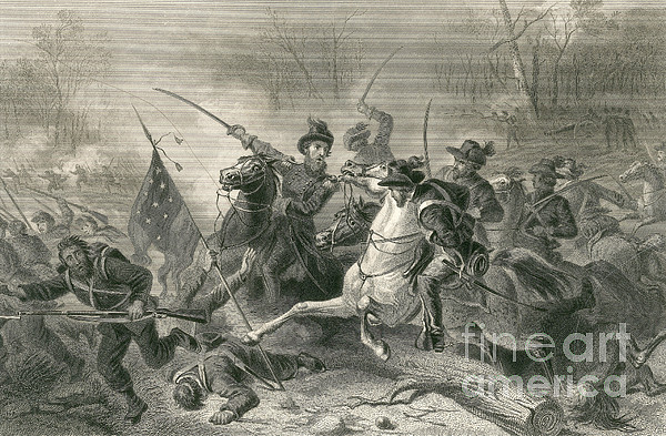 America Photograph - Battle Of Shiloh, Charge Of General by Photo Researchers