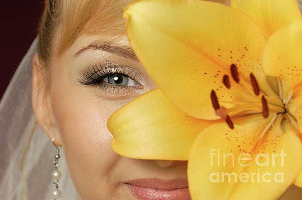 Beauty Photograph - Beautiful Young Woman With A Yellow Lily by Oleksiy Maksymenko