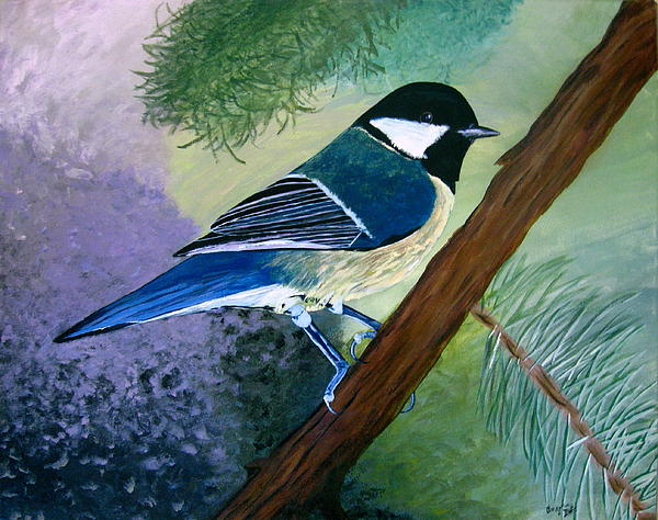 Blue Painting - Blue Chickadee by Angela Gale