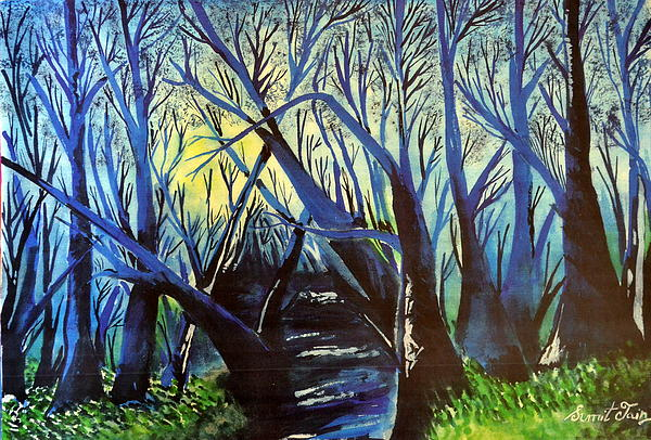 Nature Painting - Blue by Sumit Jain