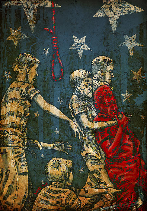 America Racism Violence Masculinity Stars Boys Noose Digital Art - Boys Will Be Boys by Baird Hoffmire