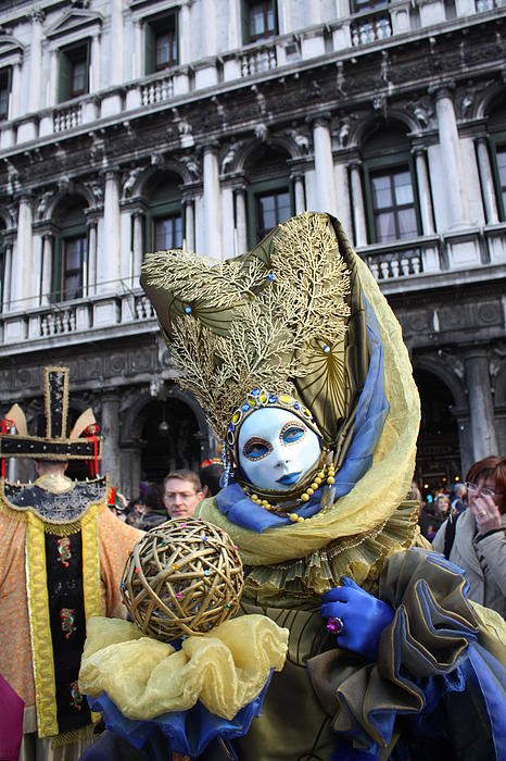 Venice Carnival Photograph - Carnival-goer In Blue And Gold by Pam Blackstone