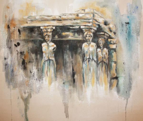 Ancient Painting - Caryatids by Erika Proctor