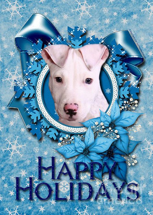 Pitbull Digital Art - Christmas - Blue Snowflakes Pitbull by Renae Laughner