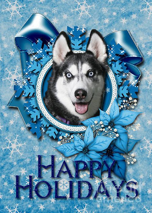 Siberian Husky Digital Art - Christmas - Blue Snowflakes Siberian Husky by Renae Laughner
