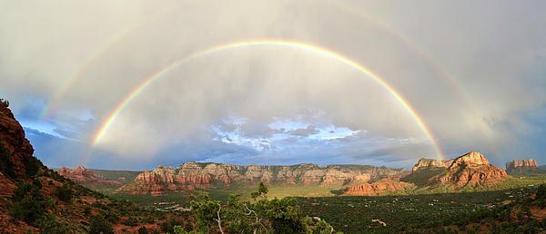 Sedona Photograph - Double Rainbow Over Sedona by David Sunfellow