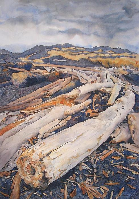 Landscape Painting - Driftwood Gathering by Leslie Redhead