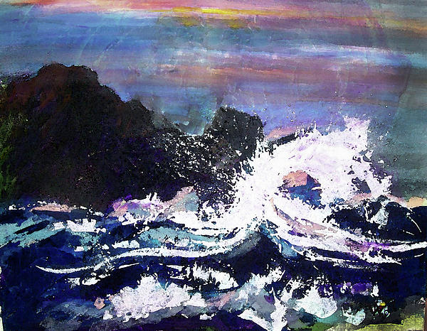 Seascape Painting - Evening Wave by Valerie Wolf