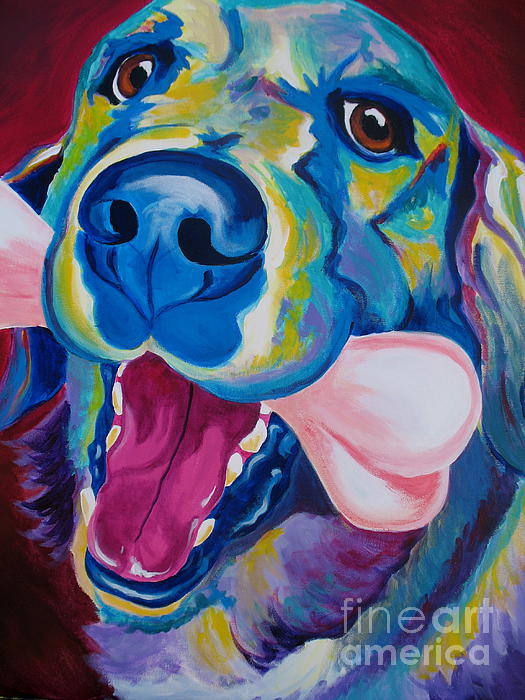 Dog Painting - Golden - My Favorite Bone by Alicia VanNoy Call