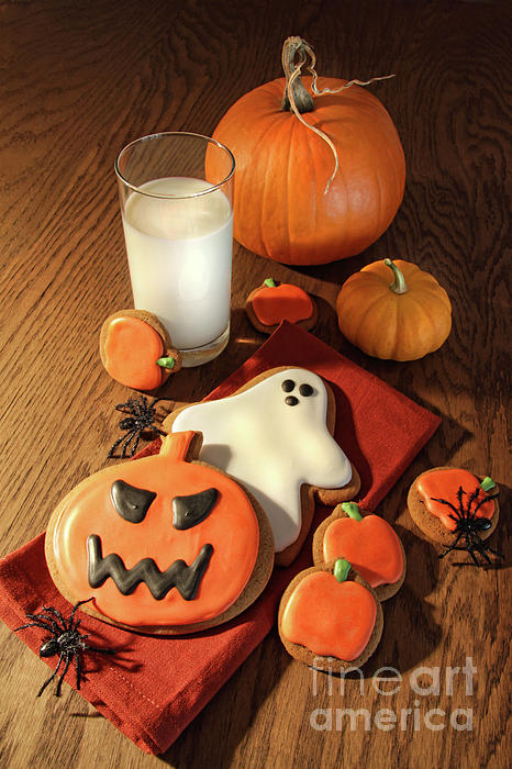 Baked Photograph - Halloween Cookies With A Glass Of Milk by Sandra Cunningham
