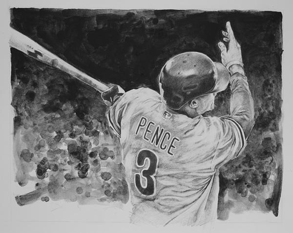 Hunter Pence Drawing - Hunter Pence by Paul Autodore