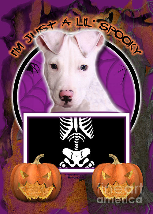 Pitbull Digital Art - Im Just A Lil Spooky Pitbull  by Renae Laughner