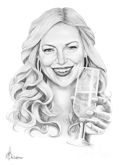 Drawing Drawing - Laura Prepon by Murphy Elliott