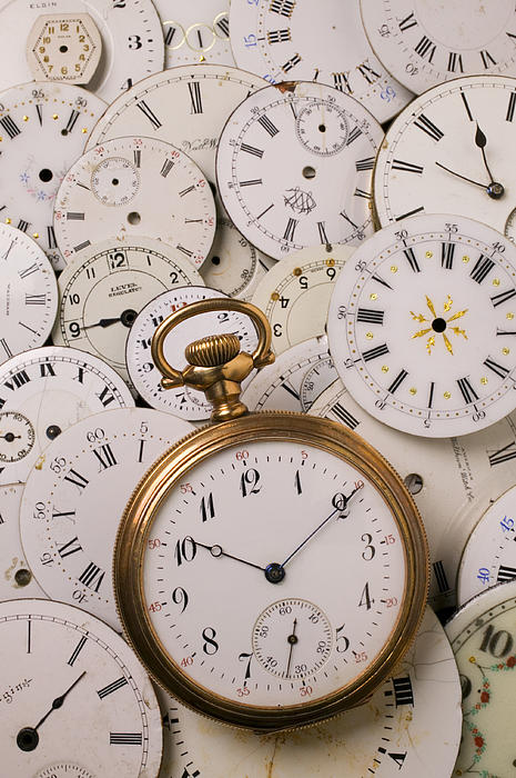 Time Photograph - Old Pocket Watch On Dail Faces by Garry Gay